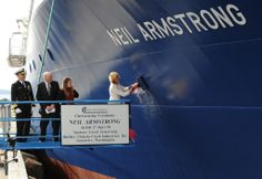 Carol Armstrong, ship's sponsor for the auxiliary general oceanographic research vessel RV Neil Armstrong (AGOR breaks a bottle across the bow during a christening ceremony at the Dakota Creek Industries, Inc., shipyard in Anacortes, Wash. Navy Mom, Us Navy, Monaco, Navy Information, Navy Rings, Rear Admiral, Us Coast Guard, Neil Armstrong, Navy Military