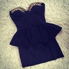 STUDDED PEPLUM DRESS | Dresstique