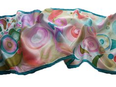 Hand painted silk scarf with dancing waves   Further products: http://silkyway.hu/english