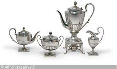 FABERGÉ Karl (Carl), 1846-1920 (Russia) Title : A four-pieces tea and coffee-service Date : ca 1890   Category : Silver Medium : : Set of 4: Silver, on square base with circular spreading foot, the partly fluted body with beaded rim, comprising a tea-pot, kettle and sugar-bowl wit...
