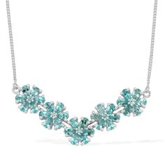 Liquidation Channel | Paraiba Apatite Necklace (18 in) in Platinum Overlay Sterling Silver (Nickel Free)