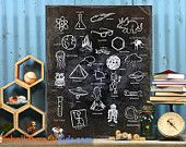 Alpha Ologies Alphabet Science Theme Wall Art by Aaron Christensen for budding geeks, teachers and rocket scientists