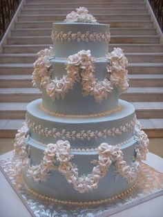 Gorgeous Victorian wedding cake in a lovely shade of pale blue. Fantastic detail work on this cake! Victorian Wedding Cakes, Elegant Wedding Cakes, Beautiful Wedding Cakes, Gorgeous Cakes, Wedding Cake Designs, Pretty Cakes, Amazing Cakes, Elegant Cakes, Dream Cake