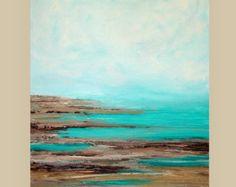 "Mar marino acrílico pintura abstracta titulada: dejar ir 30x48x1.5 ""por Ora Birenbaum"