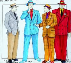 """Guys and Dolls"" – Male characters; 1/31/2013 This is the work of Wendy Eberhardt-Pertrick. I love Guys and Dolls, and the way she rendered the body shapes of the men is something I strive to be able to do. The colors schemes and cuts of the suits are perfect. I especially like the way she has embodied the characteristics of each character in the costumes."