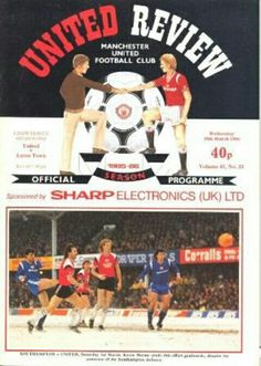 Man Utd 2 Luton Town 0 in March 1986 at Old Trafford. The programme cover #Div1