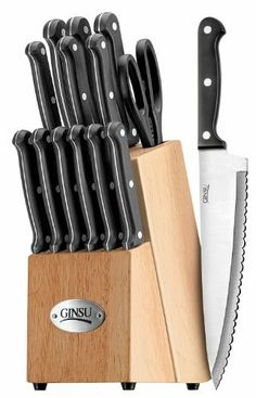 Ginsu 04817 International Traditions 14-Piece Knife Set with Block, Natural with Mini Tool Box (fs) by Ginsu Knife Sets. $65.99. Known for decades as the maker of very sharp knives, Ginsu has evolved to create incredibly sharp, technologically superior cutlery with the highest quality standards. Ginsu draws from the ancient Japanese methods of Samurai sword smiths to produce the same level of precision and craftsmanship in our contemporary knives. The Always Shar...