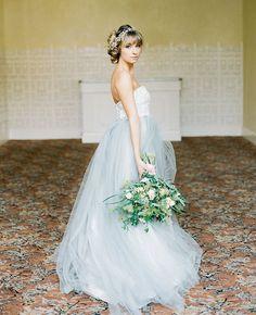 Blue and White Wedding Ideas - Elizabeth Dye Wedding Gown