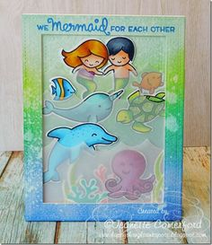 Lawn Fawn Mermaid For You; Lawn Fawn Critters in the Sea; Lawn Fawn Fintastic Friends; vellum waves; waves die; dolphin; narwhal; octopus; turtle; love; anniversary; valentine; stitched rectangle frame die; DIB; water splatter