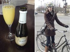 Nutcase helmet is very fashionable. the mimosa looks yummy too. :)