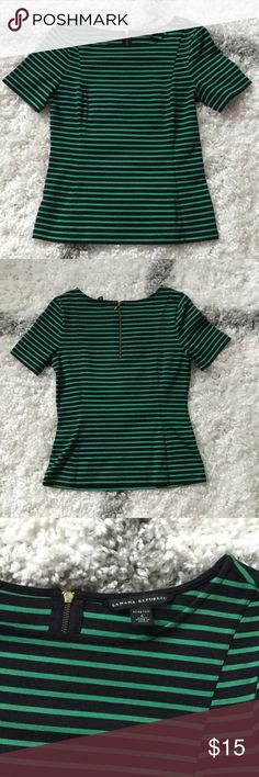 Banana Republic Stretch Striped Shirt Green and navy striped shirt. Very stretchy for a close fit. Looks great under a blazer or on its own. Dress up or down! Banana Republic Tops