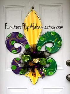 Ready to hang straight out of the box  made to last can use year after year  Festive Door decor for Mardi Gras. Sure to add character to your door. Children of all ages are welcomed by these door hangers. hand made hand cut sealed for protection 0.5 plywood light weight Painted on back size large 24in customizable you can choose colors, initial, wording you want when you order specify in notes to seller