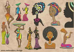 African Women Set embroidery designs pack #2 (collection of 10) by EmbroSoft on Etsy https://www.etsy.com/listing/260962416/african-women-set-embroidery-designs