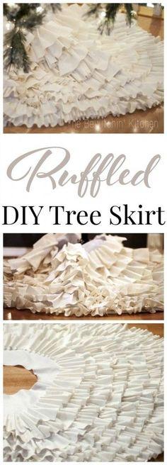DIY Ruffled Christmas Tree Skirt . This DIY tree skirt is an easy Christmas craft: no sew and it looks beautiful!