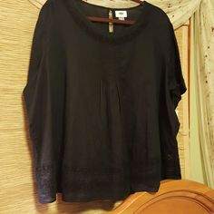 Cute cotton Old Navy Really cute sheer black boho top with lace inset pin tucked bib Old Navy Tops Blouses