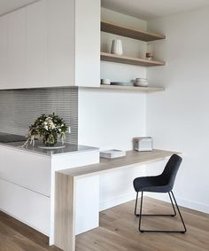 A clever little kitchen study nook in our Murrumbeena Residence. Tucked into the side of the kitchen it's discreet yet offers full… Kitchen Office Nook, Kitchen Desk Areas, Kitchen Desks, Home Office Desks, Home Decor Kitchen, Home Kitchens, Office Decor, Design Kitchen, Study Nook