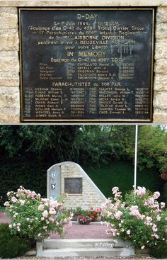Monument at Beuzeville au Plain, France. Dedicated for The crew of crashed C 47 of 439th, Troop Carrier Command with Stick 66 of E comany under Thomas Meehan, at 12 AM, June 6, 1944 This monument shows the insignia of the units involved in the crash and the names of all those on board the plane. The monument is in the shape of the tail plane of a C-47 Dakota