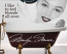Marilyn feels blonde in her American shower and bath - With a whirlpool tub for two from eBathrooms, James Dougherty, Joe DiMaggio and Arthur Miller might have had the opportunity to feel blonde too. http://www.ebathrooms.com