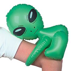 This Inflatable Alien features a miniature green alien with big black eyes who can grasp around your arm. Our Inflatable Green Alien measures 12 1/2 inches high.