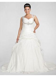 Glamorous Ball Gown Sweetheart Chapel Train Taffeta Plus Size Wedding Dress