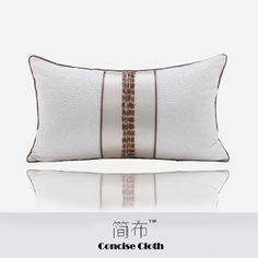 新中式米白凹凸纹撞色拼丝布木竹抱枕沙发样板房酒店别墅创意腰枕  Pillow