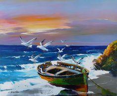 Dinghy, Seagulls And Sea~ Christian Jequel Watercolor Landscape, Landscape Art, Landscape Paintings, Watercolor Paintings, Art Plage, Boat Art, Boat Painting, Seascape Paintings, Oil Paintings