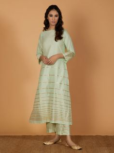 Pastel Green Gota Cotton Silk Kurta with Pants- Set of 2 Stylish Dress Designs, Stylish Dresses, Fashion Dresses, Modest Fashion, Hijab Fashion, Kurta With Pants, Silk Pants, Trouser Pants, Kurti Neck Designs