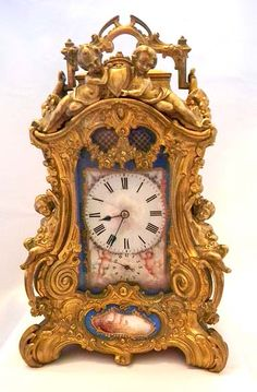 French rococo gilt brass and painted porcelain time, strike, alarm and repeat carriage clock by Drocort - c. 1890   Bogoff ᘡղbᘠ