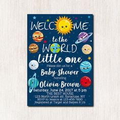 Space theme baby shower invitations Solar system Baby