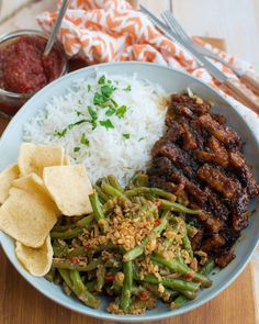 Meat Recipes, Asian Recipes, Healthy Recipes, I Love Food, Good Food, Yummy Food, Tempeh, Green Beans, Tasty