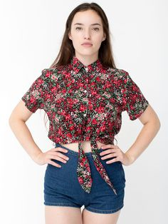 The Rayon Mid-Length Tie-Up Blouse by #AmericanApparel.  #Fall #floral #croptop