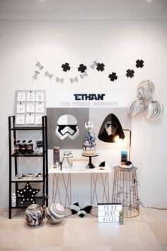 Star Wars Minimalist Monochrome Party Styled by Dream A Little Dream Events, cookies by Frosted by Nicci