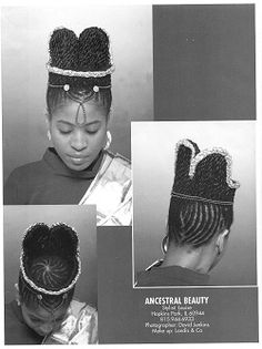 This style is one designed after a picture that I had seen of an African queen. My model is my friend and business partner, Vean. We entered a braiding competition in 1997 with this style. We got 4th. This photo was featured in a braids magazine, Modern Braids.