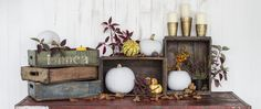 Nothing makes seasonal decorating easier than vintage wooden crates. In fact, decorating in general is easy with vintage crates. They make excellent storage, Decor, Furniture Blog, Vintage Wooden Crates, Vintage Crates, Wooden Crates, Gable Decorations, Moroccan Furniture, Decorative Jars, Stencil Furniture