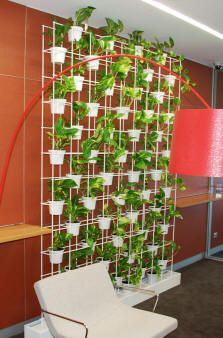 Indoor vertical wire planter.  Glass beads running between panels with lights shining down from top would look so cool at night!