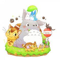 Totoro and friends (Moe ver.) - (Studio Ghibli)