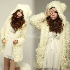 Women's Wool Hoodie Rabbit-shape Coat Jacket