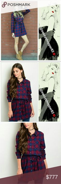 💋💖JUST IN!! 💖💋 'BAILEY' Plaid print dress Brand new not tags  Sassy little plaid print belted dress. You will love this for the season, pair with boots and a fur vest or wear with leggings, denim jacket and heels. A season MUST-HAVE!!  Material: 100% cotton:flannel like feel Dresses Mini