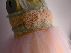 I can see the girls in something like this. Flower Girl Bridesmaid Fairy Dress tulle Peach by MaidintheForest, $97.00
