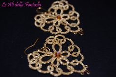Tatting handmade earrings with swarovski. by LeAlidellaFantasia