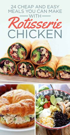 Cheap Meals: 24 Easy Meals You Can Make With Rotisserie Chicken I Love Food, Good Food, Yummy Food, Tasty, Cooking Recipes, Healthy Recipes, Game Recipes, Budget Recipes, Healthy Cheap Meals