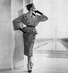 1950 Dorian Leigh in suit by Christian Dior for his American Collection