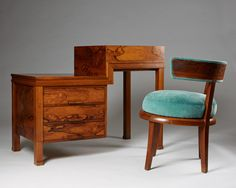 Rosewood, mocca and velvet. This desk and chair were made specially for the Stockholm Exhibition in 1930. Desk H: 85,5 cm/ 33 1/2'' L: 110 cm/ 3' 3 1/2'' D: 55 cm/ 21 1/2'' Chair H: 77 cm/ 30 1/4'' W: 59 cm/ 23 1/4'' D: 63 cm/ 24 3/4''
