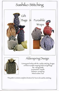 Sashiko Gift Bags & Furoshiki Pattern by by QuiltingFoxes on Etsy, $11.79