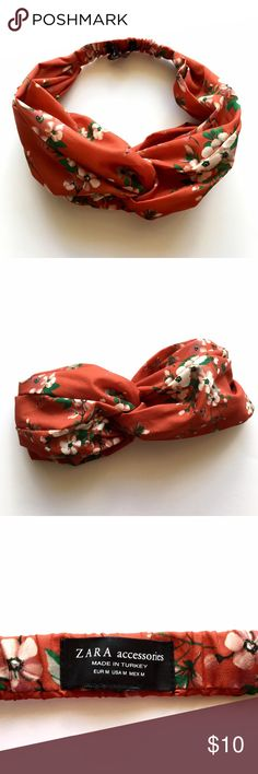 Zara: Floral Headband Rustic orange color// very cute and can style in many ways// worn once Zara Accessories Hair Accessories