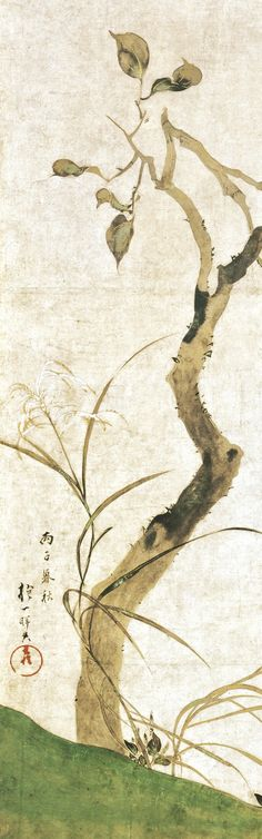 Detail. 酒井抱一筆 柿図屏風 The Persimmon Tree. Sakai Hōitsu (Japanese, 1761–1828) Period:Edo period. Date:1816. Two-panel Japanese folding screen; ink and color on paper. Rimpa School. Met Museum.
