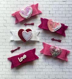 Valentine's Day Felt Hair Bow Love Sequin Heart Glitter