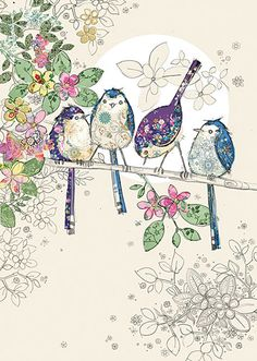 These four Blue Birds are so lovely because instead of going of the real thing she's taken something ornery and transformed it in to something fun and cute- Designed by Jane Crowther.