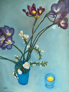 Freesias in a blue vase next to blue glass with fresh orange juice, x oil on canvas, May Oil On Canvas, Canvas Art, Original Art, Original Paintings, Blue Painting, Home Art, Buy Art, Diana, Saatchi Art
