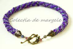 Purple wonderland - corchet beading necklace www.colectiademargele.ro Wonderland, Beading, Purple, Crochet, Bracelets, Collection, Jewelry, Fashion, Necklaces